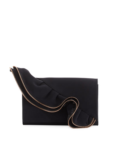 Capri Zip-Trimmed Ruffled Clutch Bag