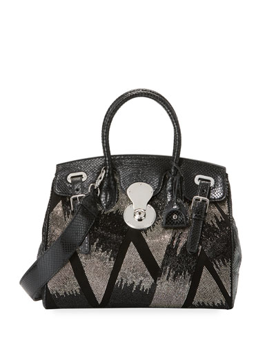 Ricky 33 Metallic Beaded Snakeskin Satchel Bag
