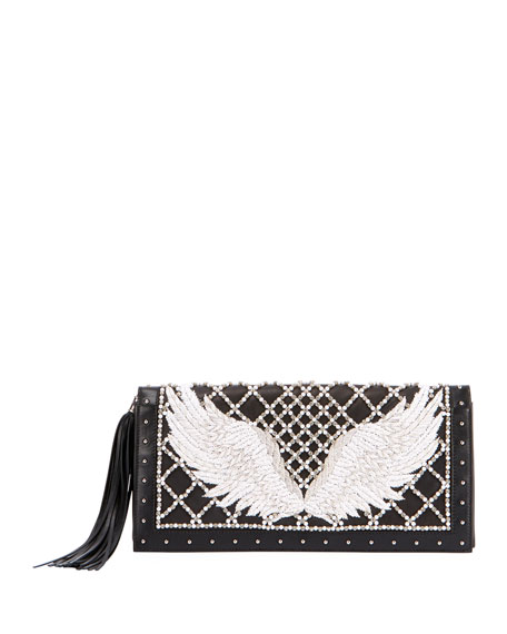 Wing-Embroidered Leather Clutch Bag