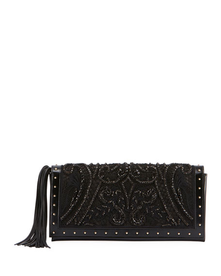 Beaded and Embroidered Clutch Bag