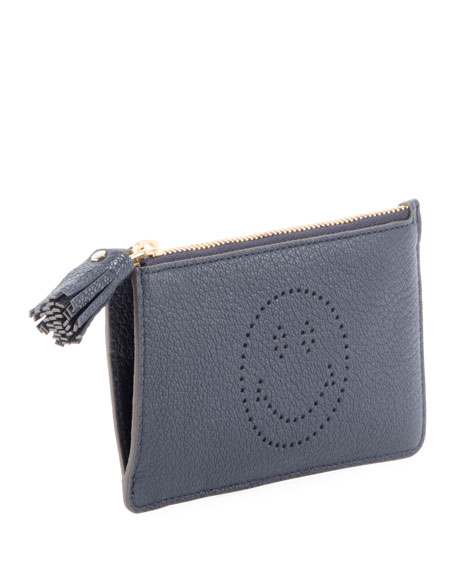 Smiley Zip-Top Leather Card Case