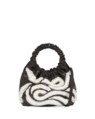 Double Circle Small Embroidered Top-Handle Bag