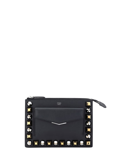 Mixed Stud Calf Leather Mini Pouch
