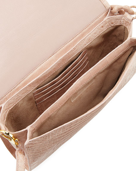 Chain-Trim Crocodile Convertible Bag