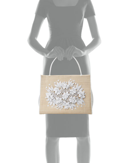 Flower-Embellished Straw Top-Handle Bag
