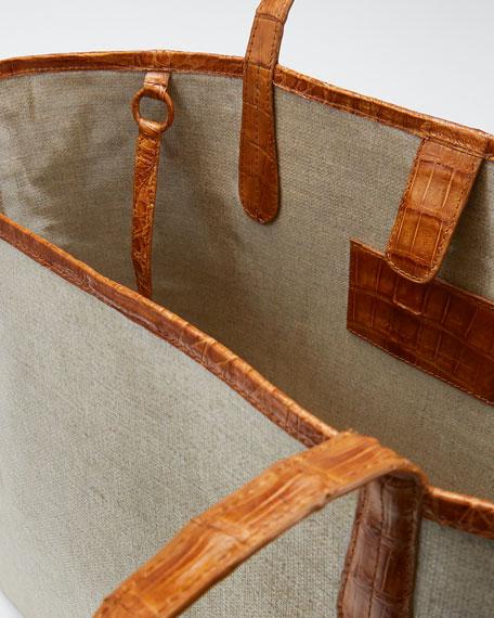 Erica Medium Linen Leaf Tote Bag