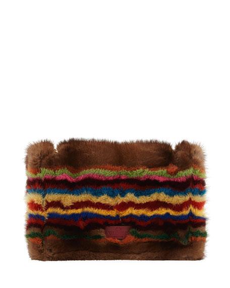 Demilune Striped Mink Fur Shoulder Bag