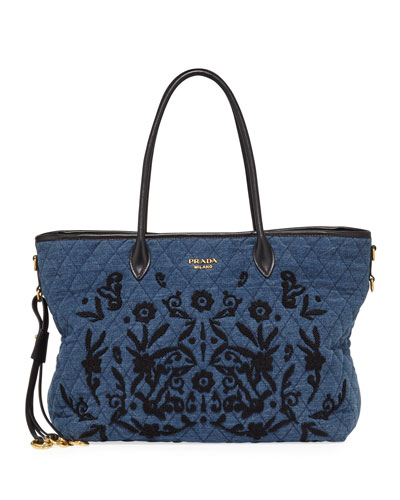 Impunturato Large Quilted Denim Shoulder Tote Bag