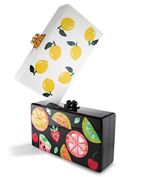 Edie Parker Sac D'embrayage De Cadre De Cocktail De Fruits Jean, Noir