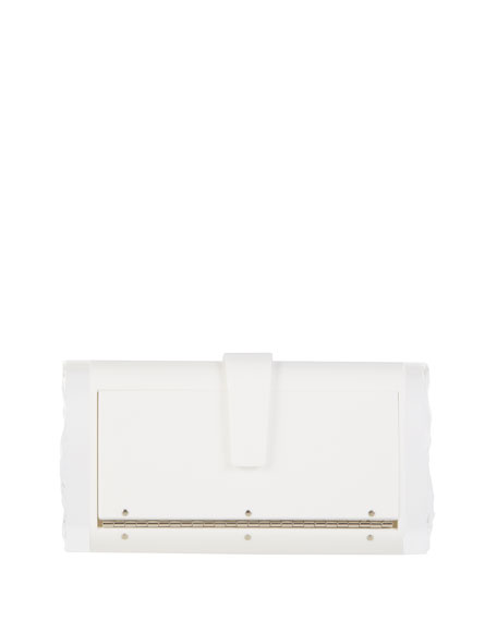 Lara Backlit Box Clutch Bag, White