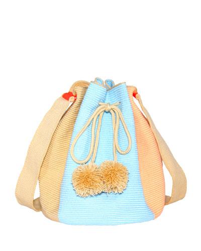 Woven Colorblock Bucket Bag