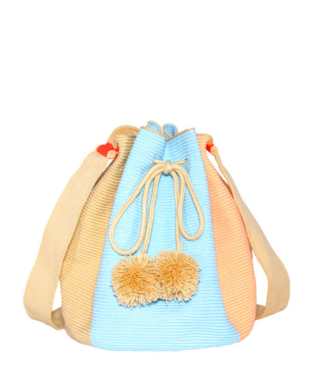 Woven Colorblock Bucket Bag