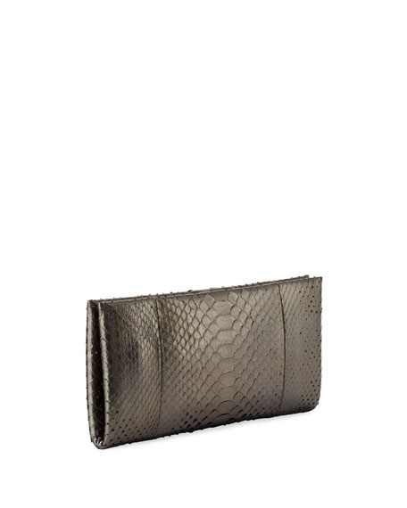 Ava Cosmo Metallic Python Clutch Bag, Medium Gray