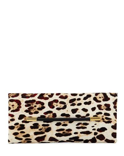Ava Ghepardo Leopard-Print Calf Hair Pochette Clutch Bag