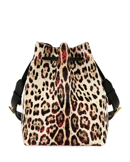 Edge Leopard-Print Calf Hair Hobo Bag