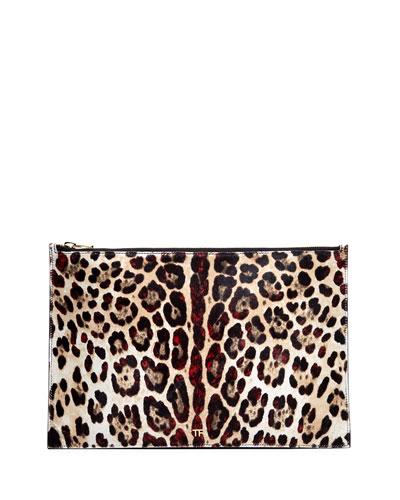 Leopard-Print Calf Hair Pouch Bag