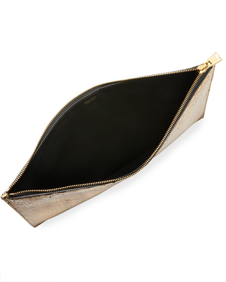 Cosmo Metallic Python Zip Pouch Bag