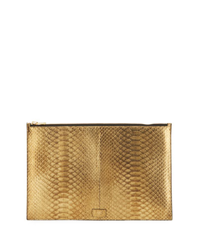 Cosmo Metallic Python Zip Pouch Bag
