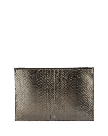 Cosmo Metallic Python Zip Pouch, Gray