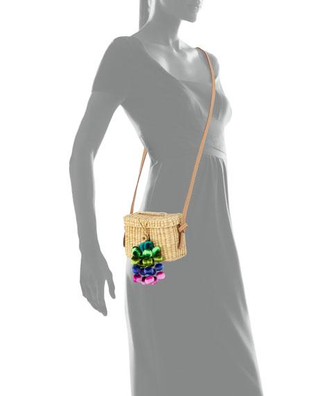 Baby Roge Woven Raffia Pompom Crossbody Bag