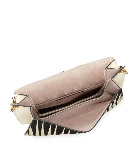 Pierce Striped Leather Shoulder Bag
