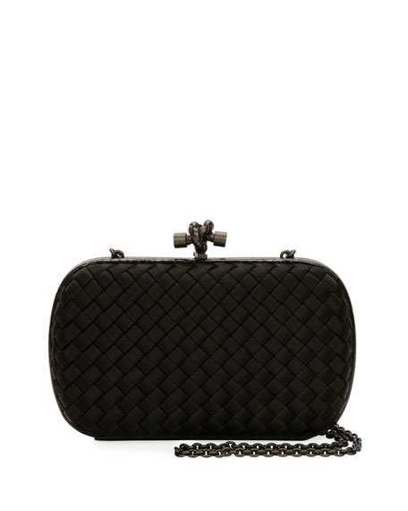 Medium Chain Knot Satin Clutch Bag