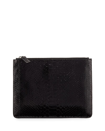 Zip-Top Crocodile Folio Pouch