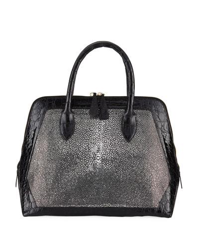 Dome Sparkle Stingray & Crocodile Top-Handle Bag