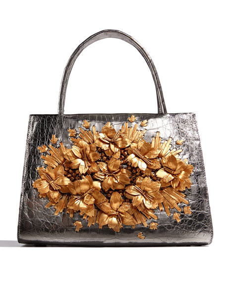 Metallic Floral Crocodile Tote Bag