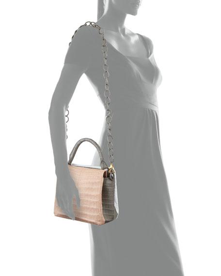 Small Tricolor Crocodile Top-Handle Bag
