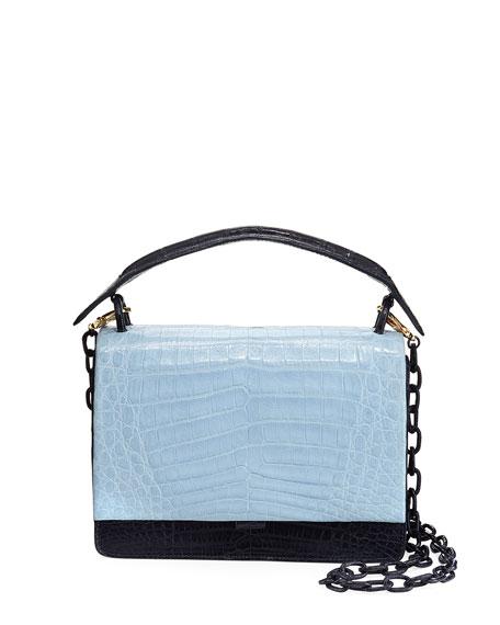 Bicolor Crocodile Flap-Top Bag