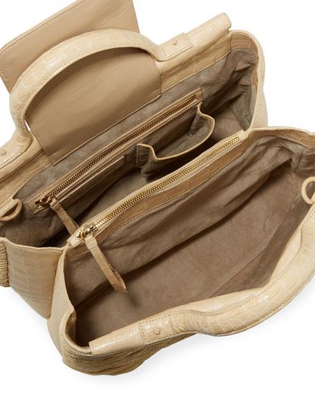 Large Straw & Crocodile Carryall Tote Bag
