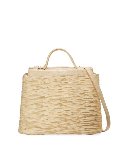 Large Straw & Crocodile Carryall Tote Bag