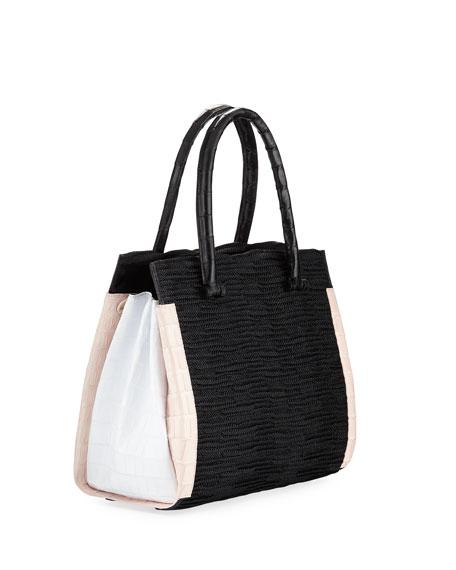 Straw & Crocodile Carryall Tote Bag