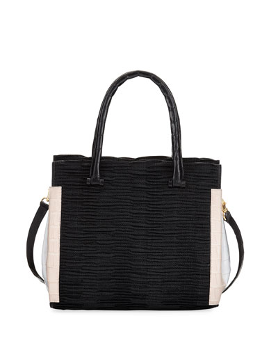 Straw & Crocodile Carryall Tote Bag