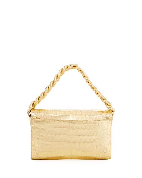 Convertible Metallic Crocodile Chain-Trim Flap Bag