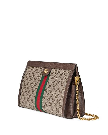 8729f2b3d5927 Gucci Linea Dragoni Medium GG Supreme Canvas Chain Shoulder Bag