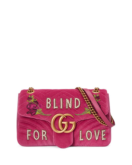 a1393b2b18a8 Gucci GG Marmont Medium Embroidered Velvet Blind for Love Shoulder Bag