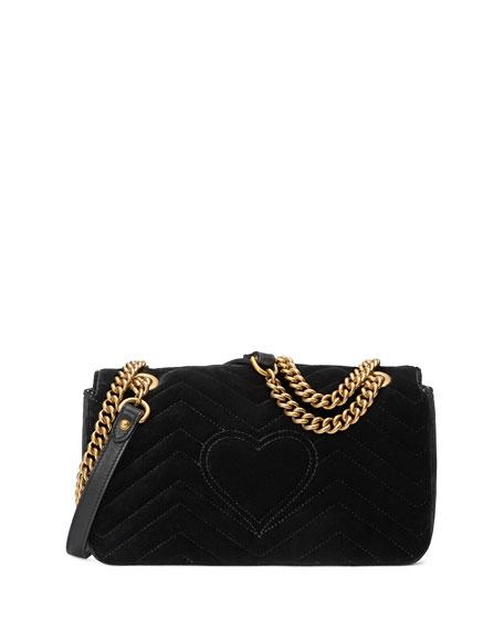 GG Marmont Small Crystal-Embellished Velvet Shoulder Bag