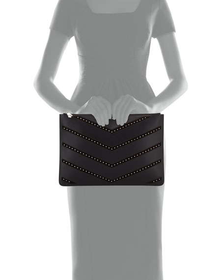 Pandora Medium Studded Chevron Pouch Bag