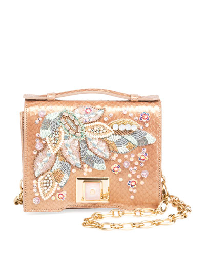 Mini Brief Beaded Snakeskin Shoulder Bag
