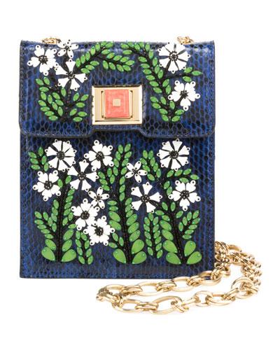 Pocket Embellished Snakeskin Crossbody Bag