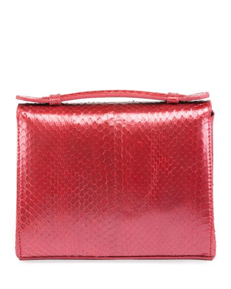 Mini Brief Beaded Snakeskin Satchel Bag