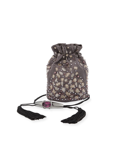 Arison Swarovski® Crystal-Embellished Sateen Pouch Bag