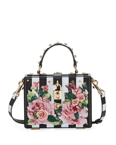 Dolce Stripe Box Bag with Roses