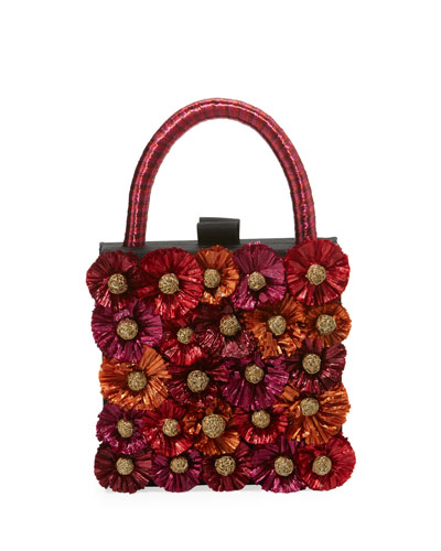 Flora Raffia Box Clutch Bag