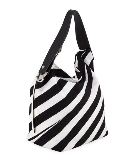 Striped Knit Medium Hobo Bag