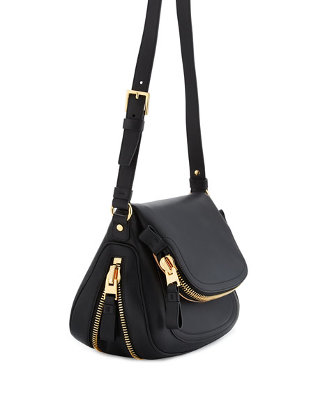 Jennifer Medium Leather Shoulder Bag, Black