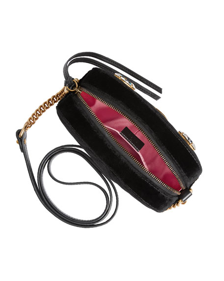 GG Marmont Mini Matelassé Velvet Camera Bag