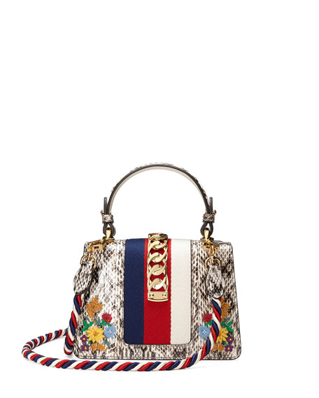 Gucci Sylvie Mini Embroidered Snakeskin Top-Handle Bag Ytmwv